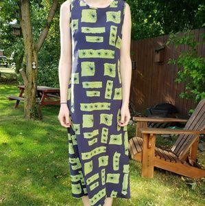 Navy Blue & Green Floral Geometric Maxi Dress